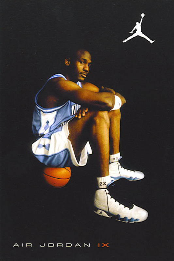 2e31f8b4fc4 With no in-game shots of Jordan wearing the Air Jordan IX existence (he was  retired), the 2002 Retros of the Air Jordan IX featured this popular  print-ad ...