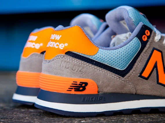 new balance 574 grey orange blue