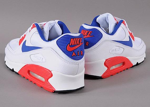 lovely Nike Air Max 90 Essential White Hyper Red Hyper Blue