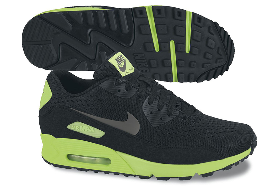 best service 439f1 a462a Nike Air Max 90 Premium Comfort EM Black Dark Grey-Flash Lime 599405-003  06 2013