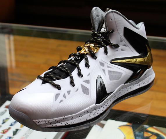 d11ea2f8714 Nike LeBron X P.S. Elite+ White Metallic Gold-Black 579834-100 04 20 13