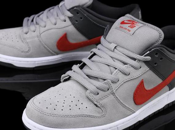 Nike SB Dunk Low - Medium Grey - Anthracite - University Red ...
