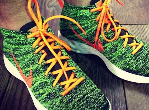 e89bf89e1418 Nike Flyknit Chukka - Green - Black - Orange - SneakerNews.com