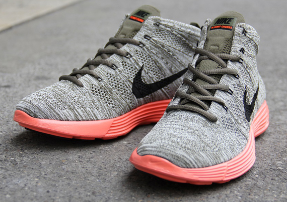 dcd90621e638 The Nike Lunar Flyknit Chukka will continue to extend the Nike Flyknit s  reign into the lifestyle sneaker realm. The bootie looking shoe has a  couple new ...