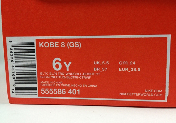 low priced 91f25 ac001 60%OFF Nike Kobe 8 GS Baltic Blue Neo Turquoise Windchill Bright Citrus