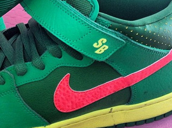 buy popular 7b244 b302c A very fruity Nike SB Dunk Mid is on its way. Mind you, we mean fruity in  the most literal sense. The pair has a very apparent watermelon palette  slapped on ...
