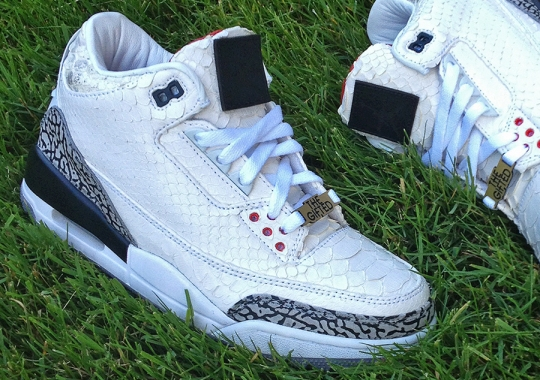 "Air Jordan III ""White Python"" Customs for Wale by JBF"