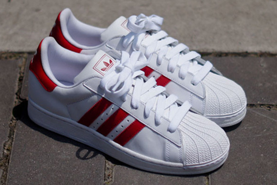 adidas superstar high top red and white