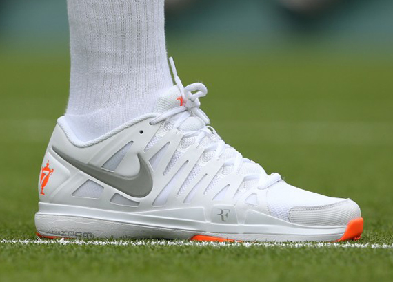 "The brand new Nike Zoom Vapor Tour 9 LE ""Wimbledon"", currently being worn  by Roger Federer in ..."