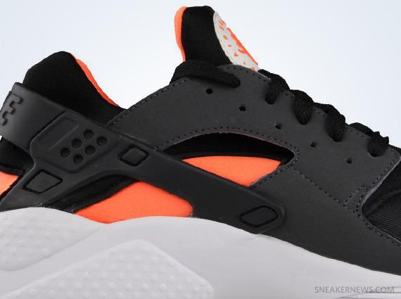 nike huarache orange and black