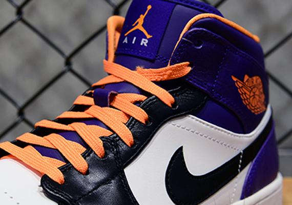 stable quality wholesale outlet 100% quality Air Jordan 1 Mid - White - Bright Citrus - Court Purple ...