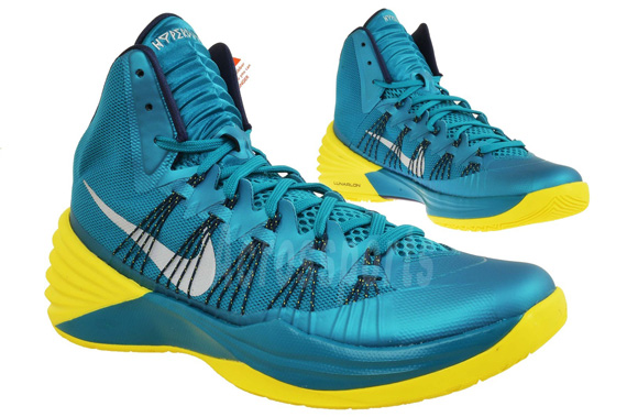 Nike Hyperdunk 2013. Tropical Teal/Sonic Yellow \u2013 White 613958-301. Shop  this Article: