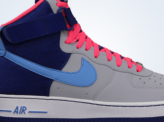 nike air force 1 high - grey pink and blue