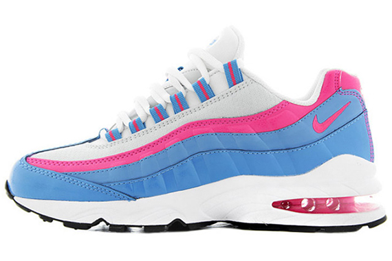 Nike Air Max 95 LE GS White Pink Flash-Distance Blue-Pure Platinum  310830-110. Photos  Soleroom 2ba71de08004