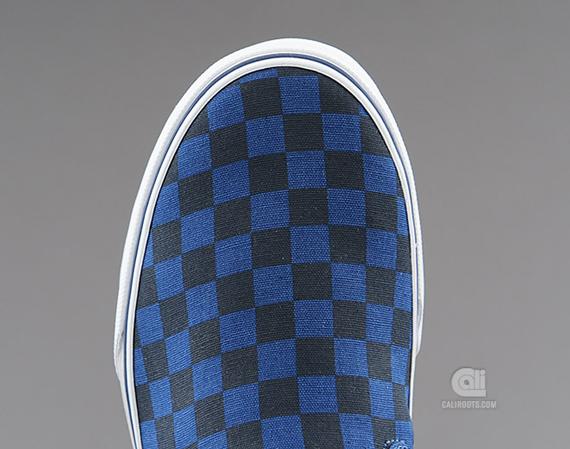 vans slipon dark blue checkerboard sneakernewscom