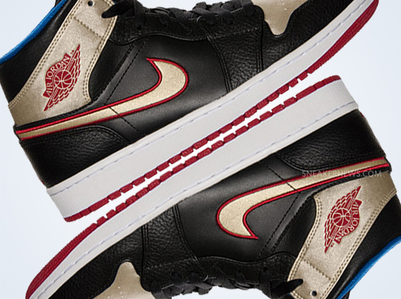 7069089b63d Air Jordan 1 Mid - Black - Gold - Red - Blue - SneakerNews.com