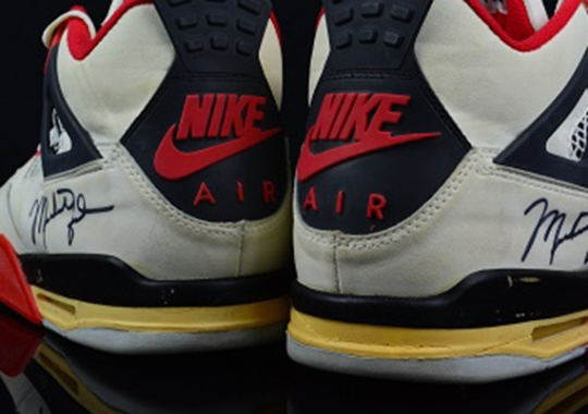 "Air Jordan IV ""Fire Red"" OG Autographed Game-Worn Pair on eBay"