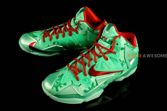 faff86b3eb6 nike lebron 11 christmas color green glowlight cromson arctic green style  code 616175 301 release date