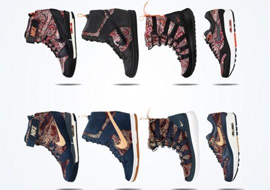 "3541897c9c74 ... Rosherun Roshe Run Hi Sneakerboot Sherpa Liberty QS Armory Navy  Vachetta Tan (633519 Liberty x Nike WMNS ""Bourton"" Collection . ..."