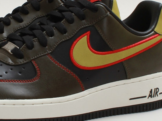 newest a55f6 bd926 durable modeling Nike Air Force 1 Low Black Parachute Gold Dark Loden