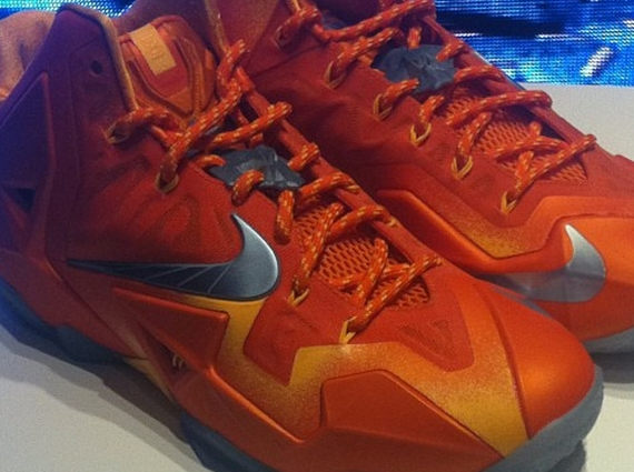 Nike LeBron 11 - Atomic Orange - Metallic Silver ...
