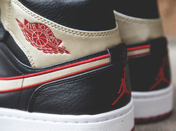 Air Jordan 1 Mid – Black – Gold – Red | Available ...