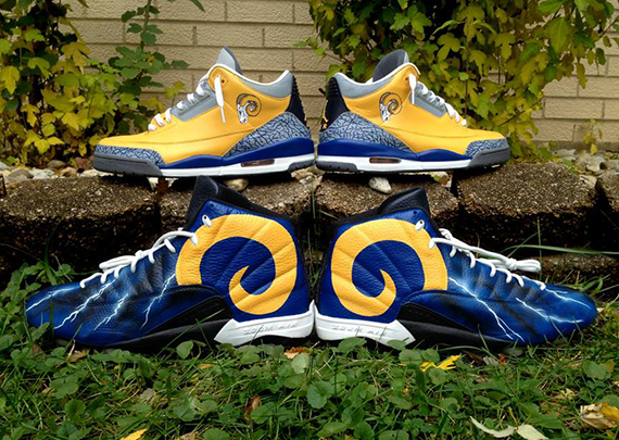 "Air Jordan ""Throwback Los Angeles Rams"" for Cortland Finnegan by DeJesus  Customs 4f5a82ac0"