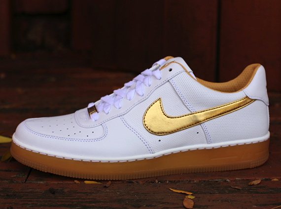 official photos 48665 76159 Nike Air Force 1 Downtown PRM - White - Metallic Gold - SneakerNews.com