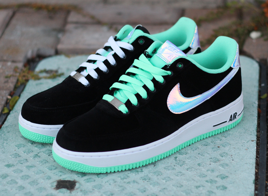 nike air force 1 low black shiny silver green glow. Black Bedroom Furniture Sets. Home Design Ideas