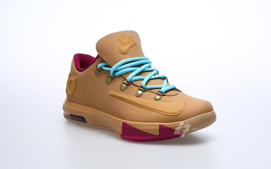 kd 6 wheat and gum grey and black jordans for kids