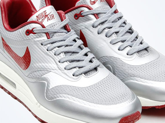 "reputable site f5aea f464f Nike Air Max 1 HYP QS ""Night Track"" – Metallic Silver – Deep Red"