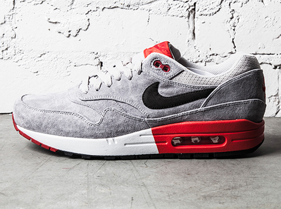 nike air max 1 red grey white and black