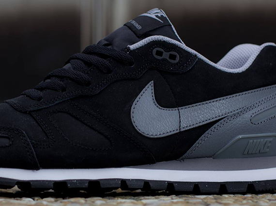 Nike Air Waffle Trainer Leather Black Grey White