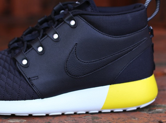 c15a65432355 Nike Roshe Run SneakerBoot Leather - Black - Base Grey - Yellow ...