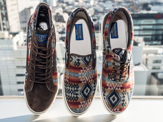 489d62e952 ... Pendleton applies its signature woolen weaves to a different brand s  classically styled skate shoes. The Pendleton x Vans Japan collection  brings ...