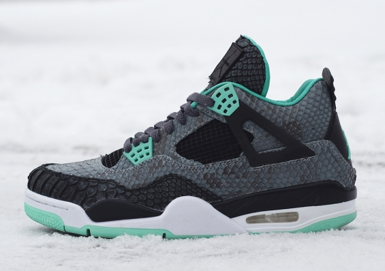 "Air Jordan 4 ""Green Glow Python"" by JBF Customs"