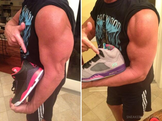 "Hulk Hogan Lifts ""Bel-Air"" and ""Bright Crimson"" Air Jordan Retros"