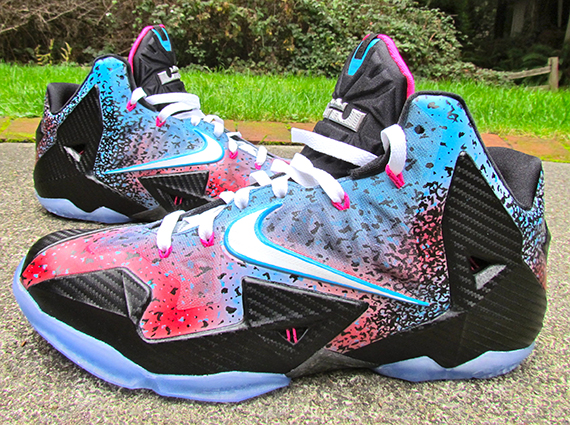 """online store 04ccd 447eb Nike LeBron 11 """"Miami Nights Flashback"""" by JustWin Customs"""