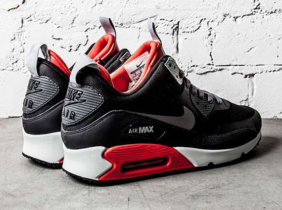 nike air max 90 sneakerboot black grey & light crimson