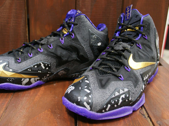 "Nike LeBron 11 ""BHM"" – Anthracite – Metallic Gold – Purple Venom"