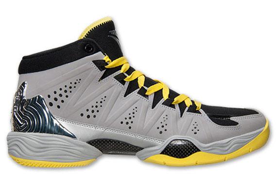 Jordan Melo M10 Color: Metallic Silver/Metallic Silver-Black-Volt Style  Code: 629876-045. Release Date: 03/01/14. Price: $165