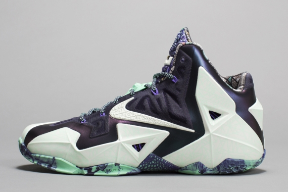 "Nike LeBron 11 ""Gator King"" Color: Cashmere/Green Glow-Purple Dynasty Style  Code: 647780-735. Release Date: 02/14/14. Price: $220 Available on eBay"