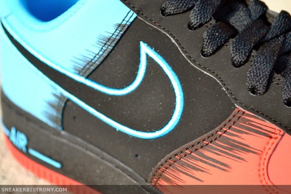 "ab63dcb45abc Nike Air Force 1 Low ""Spider-Man"" Color  Light Crimson Black-Vivid Blue  Release Date  02 08 2014. Price   100"