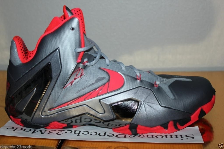 Nike LeBron 11 Elite - Wolf Grey - Crimson - Cool Grey ...