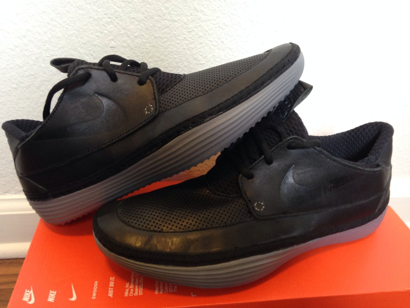 the latest 9a9aa b7214 Nike Solarsoft Moccasin - Black Leather Sample - SneakerNews.com