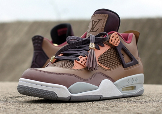 "Air Jordan 4 ""Patchwork Louis Vuitton Don"" by Dank Customs"