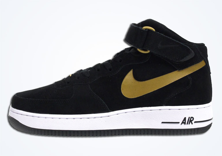 black and gold air force ones