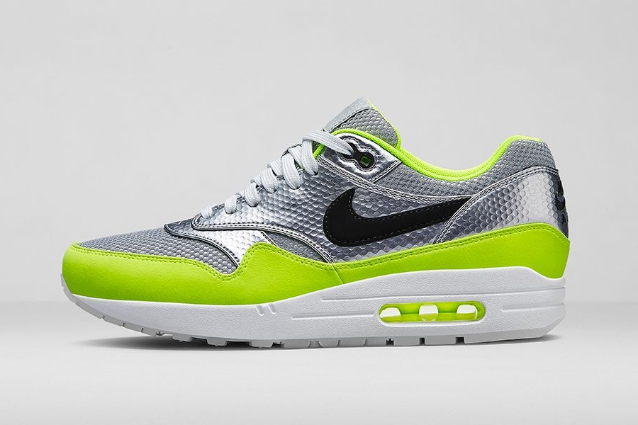 quality design 0be33 51e8d Nike Air Max 1 FB Color  Metallic Silver Black-Volt Style Code  665874-007.  Release Date  04 12 14