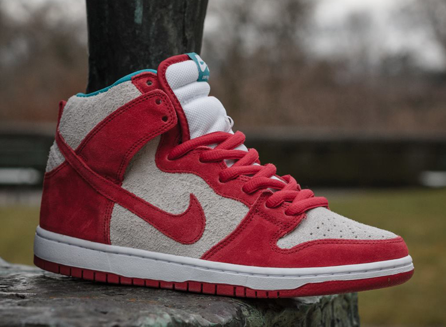 Nike SB Dunk High - Gym Red - Teal - SneakerNews.com