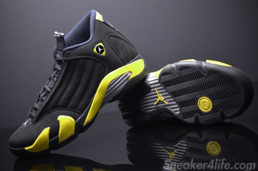 a detailed look at the air jordan 14 retro quotthunder